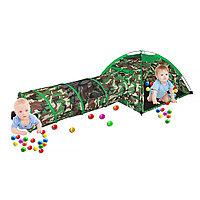 Детская военная палатка Pituso Милитари + тоннелем + 100 шаров