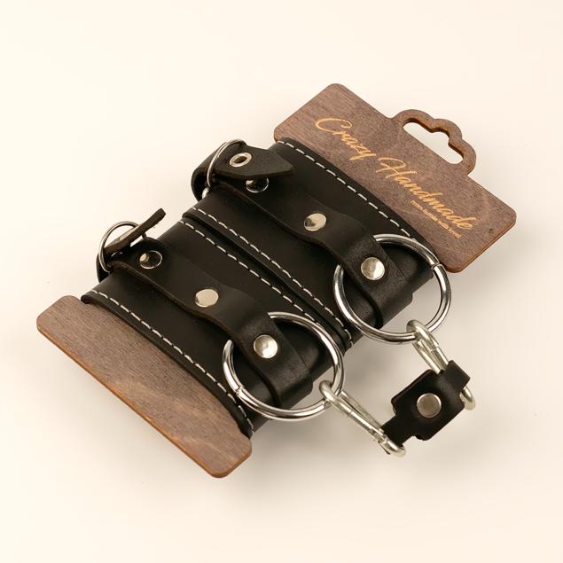 Двухслойные наручники из натуральной кожи с белой строчкой