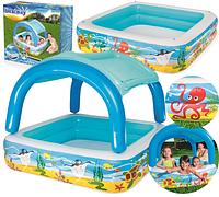 Детский надувной бассейн «Морские глубины», с навесом, 140 х 140 х 114 см, 52192 Bestway