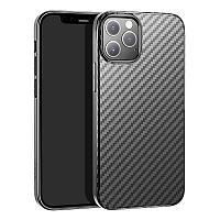 """Защитный чехол для Айфон 12 Pro Max Hoco """"Delicate shadow"""" карбон, черный"""