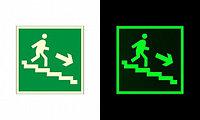 """ФЭС-24 Знак E 13 """"Направление к эвакуационному выходу по лестнице вниз (прав)"""" на фотолюминесцентной"""