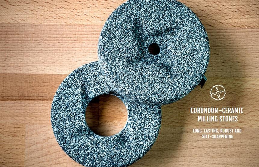 Каменные жернова для мельницы - мукомолки Mockmill 100 - 200, Lino, PRO (корунд - керамика) Германия