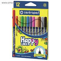 Набор ручек капиллярных, 12 цветов, 0.8 мм, Centropen HAPPY LINER 2521, линия 0,3 мм