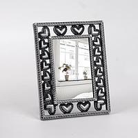 Зеркало настольное, с увеличением, зеркальная поверхность 9 × 14 см, цвет «состаренное серебро»