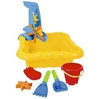 Набор для песка и воды с мельницей, 7 элементов, цвет жёлтый