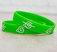 Резиновый браслет Наруто деревня скрытого листа 2 шт зеленые
