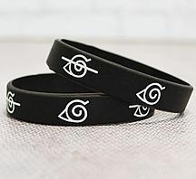 Резиновый браслет Наруто деревня скрытого листа 2 шт черный