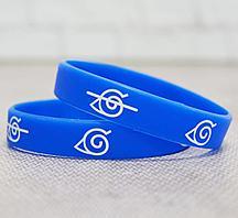 Резиновый браслет Наруто деревня скрытого листа 2 шт синие
