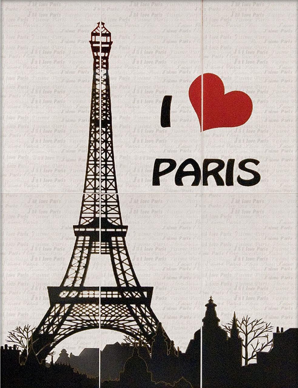 Декор-панно I Love Paris 885x1190 D6/G
