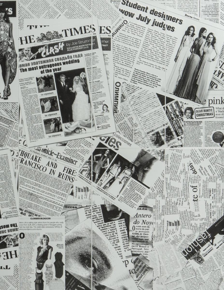 Декор-панно Newsprint Grey (1180x1190) D6