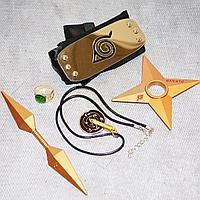 Игровой набор Наруто повязка звезда Сюрикен двухсторонний Кунай кольцо и медальон