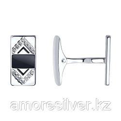 Запонки SOKOLOV серебро с родием, эмаль фианит  94160035