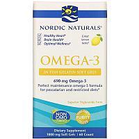 Омега 3 с лимонным вкусом, 690 мг, 60 капсул, Nordic Naturals, фото 1