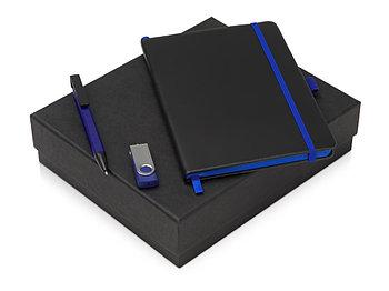 Подарочный набор Q-edge с флешкой, ручкой-подставкой и блокнотом А5, синий