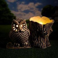 Садовый светильник-кашпо ''Совенок'', шамот, бежевый цвет, 14 л, без элемента питания