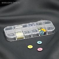 Контейнер для бисера, 12 отделений с номерами, 13 × 5 × 1,5 см, цвет прозрачный