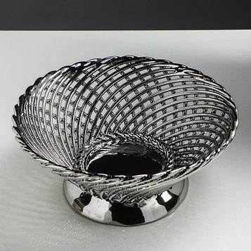"Конфетница ""Плетенка"", круглая, серебро"
