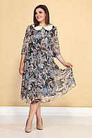 Женское летнее шифоновое серое нарядное платье ALEZA 1030 50р.