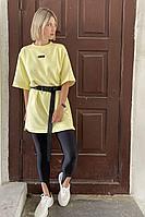 Женское летнее трикотажное желтое спортивное платье Faldas ФС-19.170 светло-жёлтый 42р.