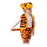 Карнавальный костюм «Тигрёнок», шапка, жилет, шорты с хвостом, 5-7 лет, рост 122-134 см