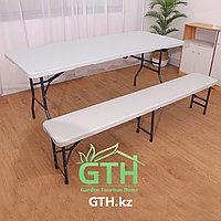 Комплект складной туристический стол 180х75см и 2 лавочки 183х33 см. Доставка.