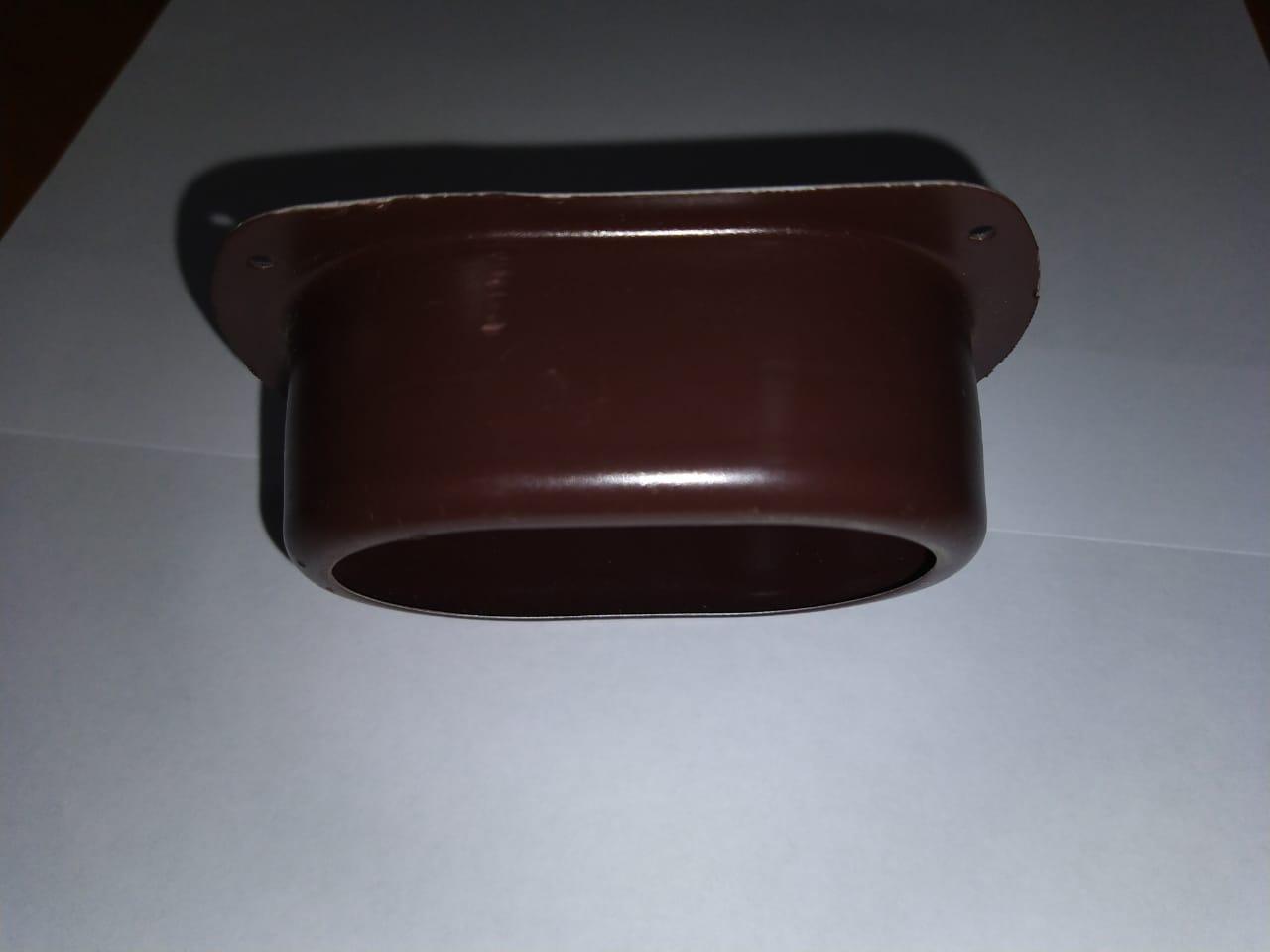 Воронка выпускная 76х102 / Соединитель трубы с желобом 76х102 Коричневый Металлический ПЭ Ral 8017