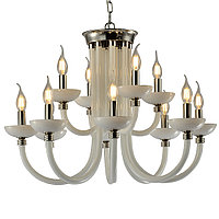 P2414-8+4 Сhrome/Iron+with inside white glass Люстра (MODERN LAMP)
