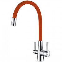 Смеситель для кухни Lemark Comfort Хром Оранжевый (LM3075C-Orange)