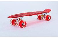 Пенни борд со светящимися колесами красный