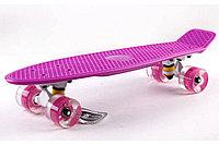 Пенни борд со светящимися колесами розовый