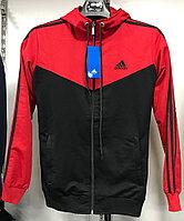 Костюм спортивный мужской Adidas с капюшоном красный-черный/черный