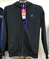 Костюм спортивный мужской Adidas с капюшоном черный-синий/черный