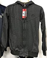 Костюм спортивный мужской Adidas с капюшоном серый с черным логотипом