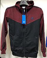 Костюм спортивный мужской Adidas с капюшоном черный-бордовый/черный