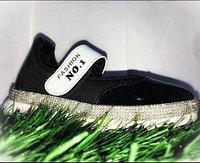 Туфли для девочек NO.1 со стразами на липучках черные размеры 30-36