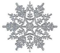 Снежинка с блестками серебристая пластиковая 11 см 3 штуки в комплекте