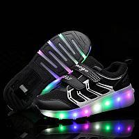 Роликовые кроссовки текстиль 1 колесо подсветка