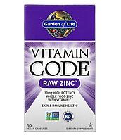 Garden of Life, Vitamin Code, цинк RAW, 60 веганских капсул
