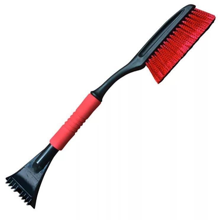 Щетка для очистки снега со скребком и мягкой ручкой L-56см