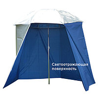 Зонт туристический для рыбалки разборный жаростойкий с чехлом серебристо синий