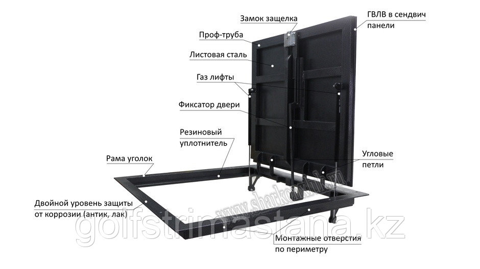 """Люк напольный """"Стелс"""", 1800*500п мм. под плитку"""