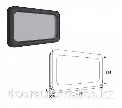 Окно акриловое для панелей толщиной 40мм с двойным стекло 334х638мм
