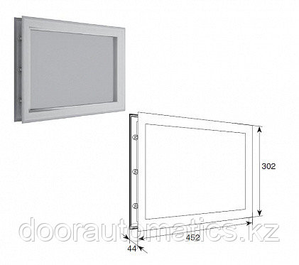 """Окно акриловое для панелей толщиной 40мм со структурой """"Филенка"""" и двойным стеклом 452х302мм"""