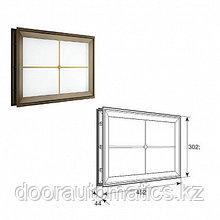 """Окно акриловое с крестообразной вставкой со структурой """"Филенка"""" и двойным стеклом 452х302мм"""