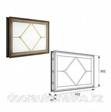 """Окно акриловое со вставкой в форме ромба со структурой """"Филенка"""" и двойным стеклом 452х302мм"""