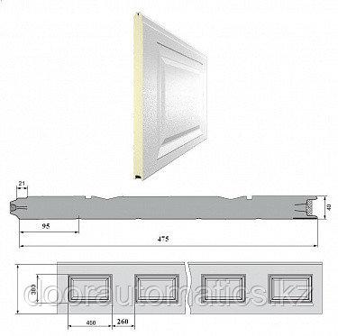 Панель «Филёнка» 475 мм шаг 260 мм Дерево/Стукко
