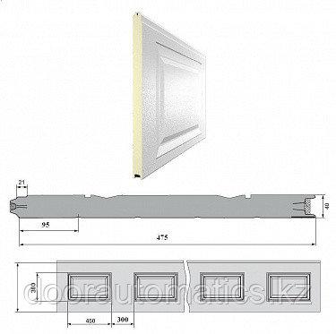 Панель «Филёнка» 475 мм шаг 300 мм Дерево/Стукко