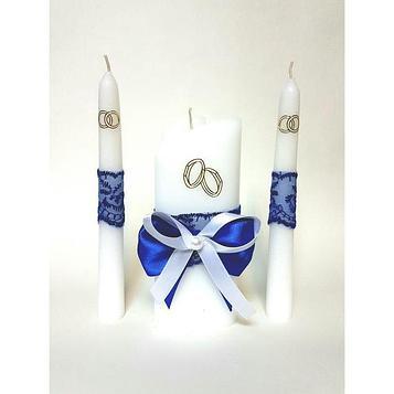 """Набор свечей """"Кружевной"""", синий : Домашний очаг 6.8х15см, Родительские свечи 1.8х17.5см"""