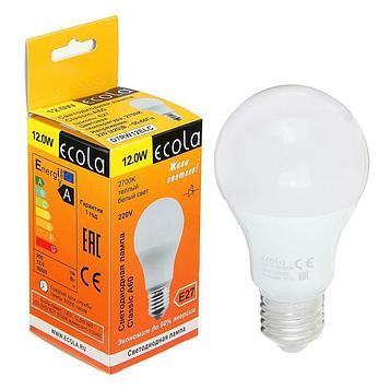 Лампа светодиодная Ecola, A60, 12 Вт, E27, 2700 K, 110x60 мм, композит