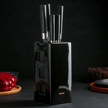 Набор KEIKO из 5 кухонных ножей с универсальным керамическим блоком, цвет чёрный